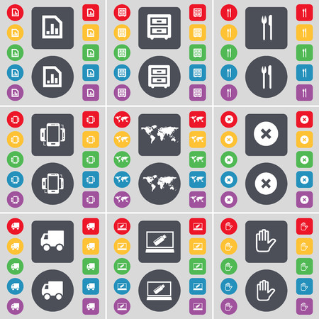 bedtable: Diagram file, Bed-table, Fork and knife, Smartphone, Globe, Stop, Truck, Laptop, Hand icon symbol. A large set of flat, colored buttons for your design. illustration
