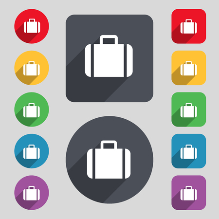 suit case: Suitcase icon sign. A set of 12 colored buttons and a long shadow. Flat design. illustration