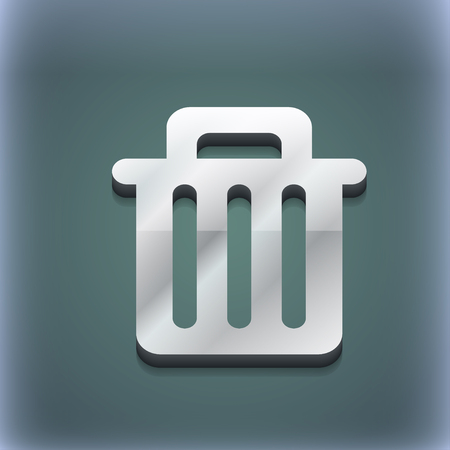 utilize: Recycle bin icon symbol. 3D style. Trendy, modern design with space for your text illustration. Raster version Stock Photo