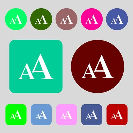 enlarge: Enlarge font, AA icon sign.12 colored buttons. Flat design. illustration Stock Photo