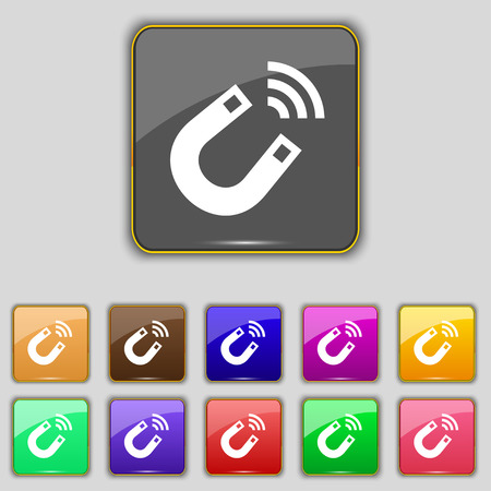 electromagnetic: Magnet icon sign. Set with eleven colored buttons for your site. illustration