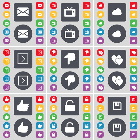 retro tv: Message, Retro TV, Cloud, Arrow right, Hand, Heart, Like, Lock, Floppy icon symbol. A large set of flat, colored buttons for your design. illustration