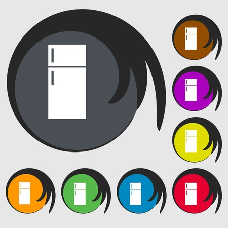 cold storage: Refrigerator icon sign. Symbols on eight colored buttons. illustration