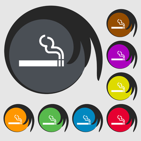 smoldering cigarette: cigarette smoke icon sign. Symbol on eight colored buttons. illustration
