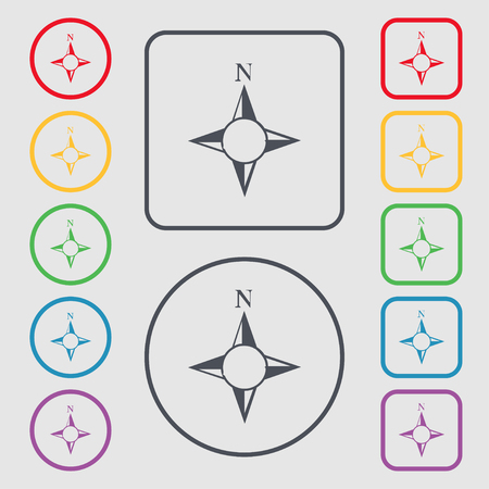 windrose: Compass sign icon. Windrose navigation symbol. Symbols on the Round and square buttons with frame. illustration