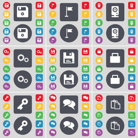 key hole: Floppy, Golf hole, Speaker, Gear, Floppy, Lock, Key, Chat, Survey icon symbol. A large set of flat, colored buttons for your design. illustration