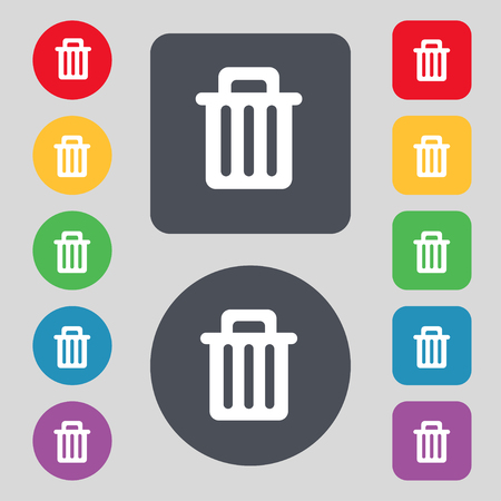 discard: Recycle bin icon sign. A set of 12 colored buttons. Flat design. illustration