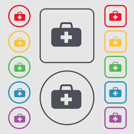 medicine chest: medicine chest icon sign. symbol on the Round and square buttons with frame. illustration