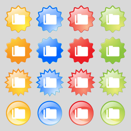 map case: Document folder icon sign. Set from sixteen multi-colored glass buttons with place for text. illustration Stock Photo
