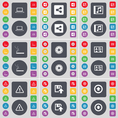 contact lens: Laptop, Share, Music window, Cigarette, Lens, Contact, Warning, Floppy, Arrow up icon symbol. A large set of flat, colored buttons for your design. illustration