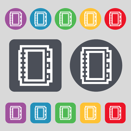 ereader: Book icon sign. A set of 12 colored buttons. Flat design. illustration