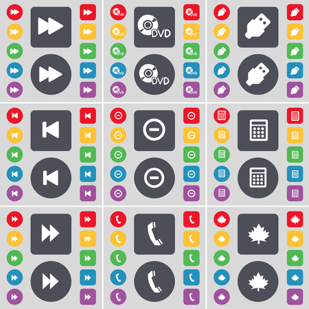 maple leaf icon: Rewind, DVD, USB, Media skip, Minus, Calculator, Rewind, Receiver, Maple leaf icon symbol. A large set of flat, colored buttons for your design. illustration