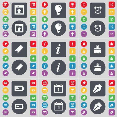 window light: Window, Light bulb, Alarm clock, Marker, Information, Brush, Charging, Calendar, Ink pen icon symbol. A large set of flat, colored buttons for your design. illustration