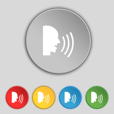 loudly: Talking Flat modern web icon. Set colour button. illustration Stock Photo