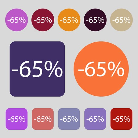 65: 65 percent discount sign icon. Sale symbol. Special offer label.12 colored buttons. Flat design. illustration