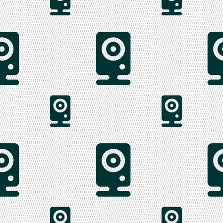 web cam: Web cam icon sign. Seamless pattern with geometric texture. illustration Stock Photo