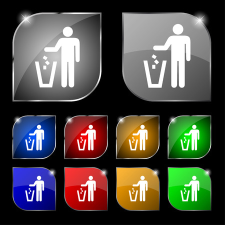 throw away: throw away the trash icon sign. Set of ten colorful buttons with glare. illustration