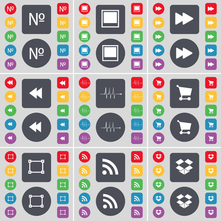 dropbox: Number, Window, Rewind, Pulse, Shopping cart, Frame, RSS, Dropbox icon symbol. A large set of flat, colored buttons for your design. illustration Stock Photo