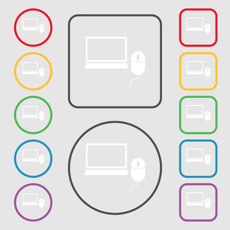 ico: Computer widescreen monitor, mouse sign ico. Symbols on the Round and square buttons with frame. illustration