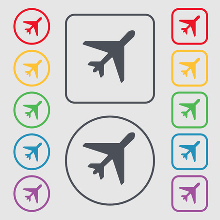 fender: airplane icon sign. symbol on the Round and square buttons with frame. illustration Stock Photo