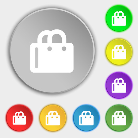 shopping bag icon: shopping bag icon sign. Symbol on five flat buttons. illustration Stock Photo