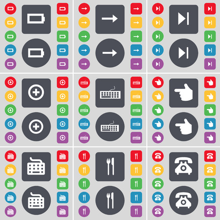 skip: Battery, Arrow right, Media skip, Plus, Keyboard, Hand, Keyboard, Fork and knife, Retro phone icon symbol. A large set of flat, colored buttons for your design. illustration