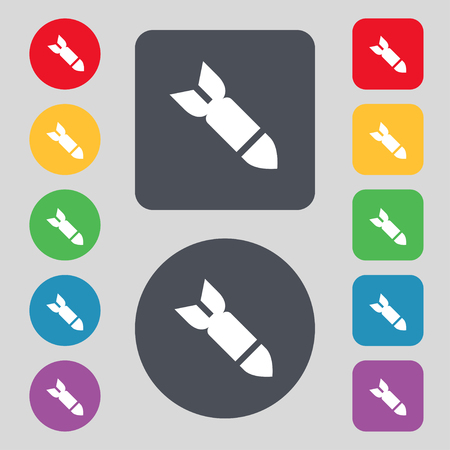 missile: Missile,Rocket weapon icon sign. A set of 12 colored buttons. Flat design. illustration