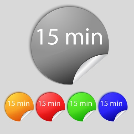 tokens: 15 minutes sign icon. Set of colored buttons. illustration