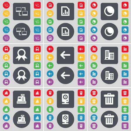 cash register building: Connection, Diagram file, Moon, Medal, Arrow left, Building, Cash register, Speaker, Trash can icon symbol. A large set of flat, colored buttons for your design. illustration