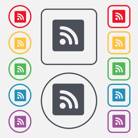rss feed icon: RSS feed icon sign. symbol on the Round and square buttons with frame. illustration