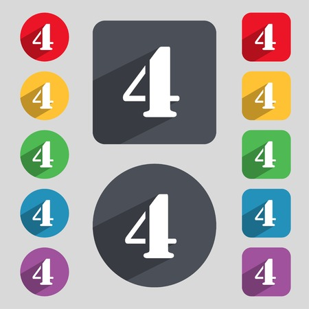 number icon: number four icon sign. Set of coloured buttons. illustration