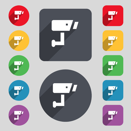 close circuit camera: Surveillance Camera icon sign. A set of 12 colored buttons and a long shadow. Flat design. illustration