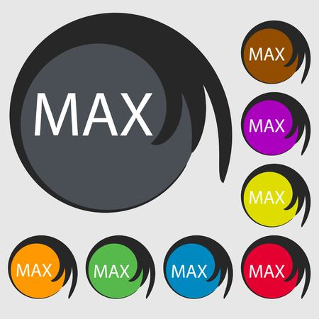 extremity: maximum sign icon. Symbols on eight colored buttons. illustration
