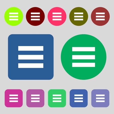width: Align text to the width icon sign.12 colored buttons. Flat design. illustration Stock Photo