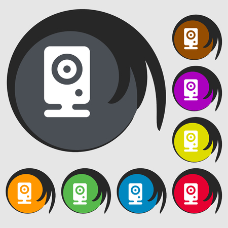 web cam: Web cam icon sign. Symbol on eight colored buttons. illustration