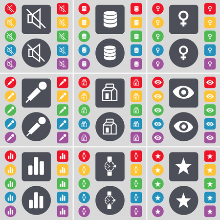 venus symbol: Mute, Database, Venus symbol, Microphone, Packing, Vision, Diagram, Wrist watch, Star icon symbol. A large set of flat, colored buttons for your design. illustration