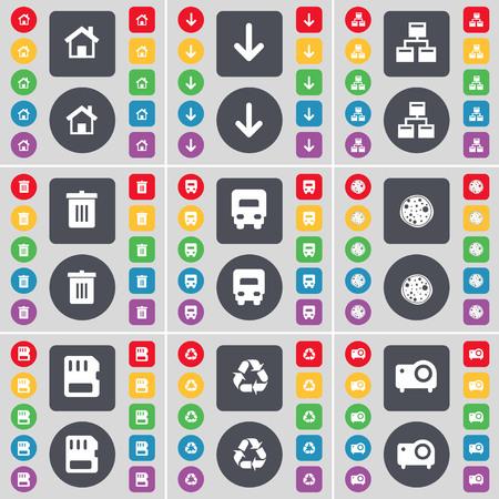 camion de basura: Casa, Flecha abajo, Red, bote de basura, Cami�n, Pizza, tarjeta SIM, Reciclaje, icono proyector s�mbolo. Un gran conjunto de botones planos, de color para su dise�o. ilustraci�n