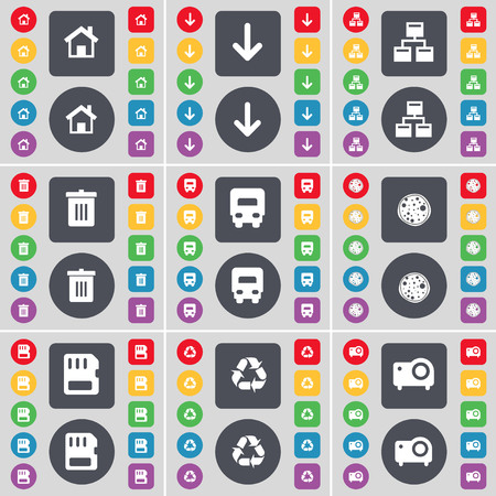 camion de basura: House, Arrow down, Network, Trash can, Truck, Pizza, SIM card, Recycling, Projector icon symbol. A large set of flat, colored buttons for your design. illustration