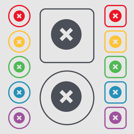 restrictions: cancel icon sign. symbol on the Round and square buttons with frame. illustration