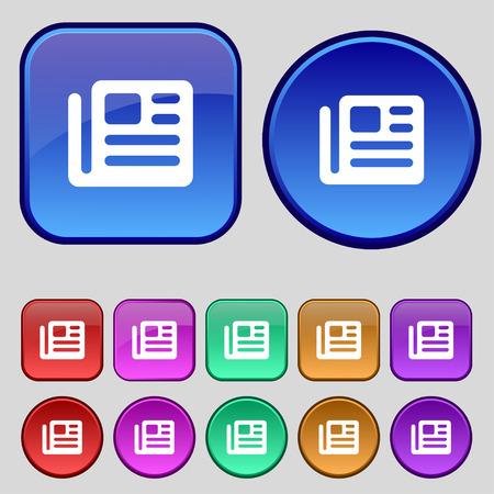 newspaper stack: book, newspaper icon sign. A set of twelve vintage buttons for your design. illustration