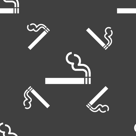 pernicious habit: cigarette smoke icon sign. Seamless pattern on a gray background. illustration Stock Photo