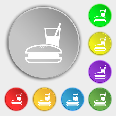 lunch box: lunch box icon sign. Symbol on five flat buttons. illustration