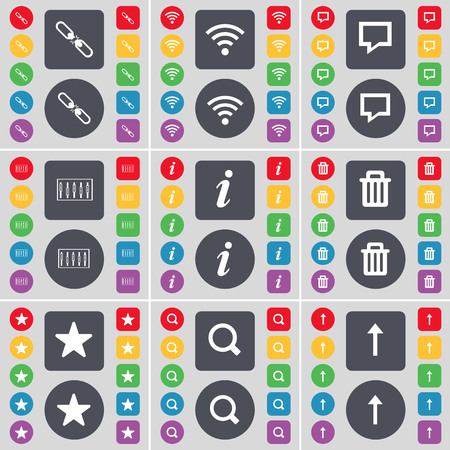 link up: Link, Wi-Fi, Chat bubble, Equalizer, Information, Trash can, Star, Magnifying glass, Arrow up icon symbol. A large set of flat, colored buttons for your design. illustration