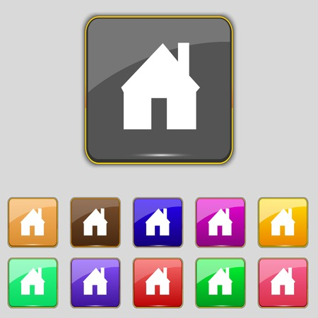 main: Home sign icon. Main page button. Navigation symbol. Set colourful buttons illustration