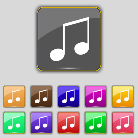 ringtone: musical note, music, ringtone icon sign. Set with eleven colored buttons for your site. illustration