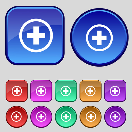 inset: Plus sign icon. Positive symbol. Zoom in.Set colourful buttons illustration Stock Photo
