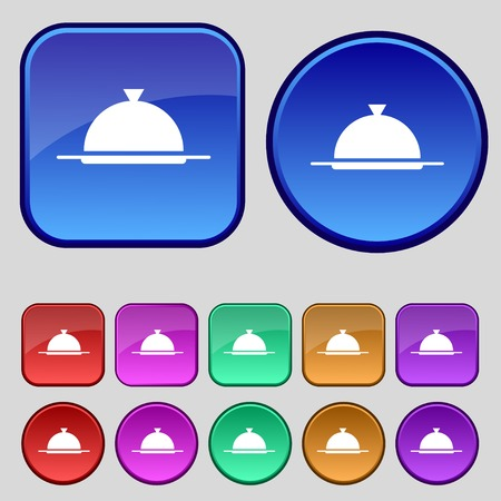 table setting: Food platter serving sign icon. Table setting in restaurant symbol. Set colourful buttons. illustration