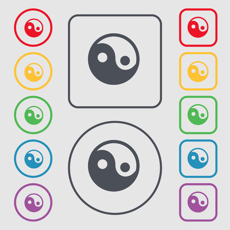 daoism: Ying yang icon sign. symbol on the Round and square buttons with frame. illustration Stock Photo