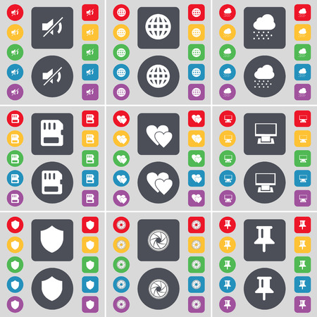heart monitor: Mute, Globe, Cloud, SIM card, Heart, Monitor, Badge, Lens, Pin icon symbol. A large set of flat, colored buttons for your design. illustration