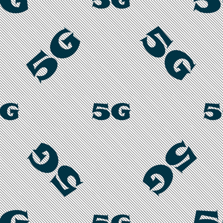 telecommunications technology: 5G sign icon. Mobile telecommunications technology symbol. Seamless pattern with geometric texture. illustration Stock Photo